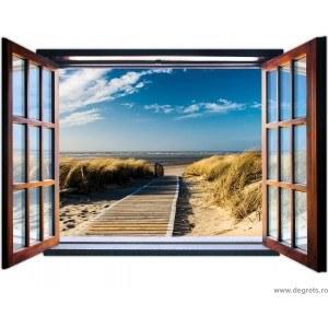 Fotografie tapet Drum spre plaja 3D fereastra Vlies