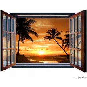 Fotografie tapet Apus in Bali 3D fereastra Vlies