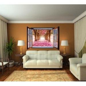 Fotografie tapet Gradina cu flori 3D fereastra Vlies