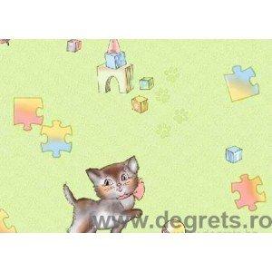 Tapet hârtie Pisici verde