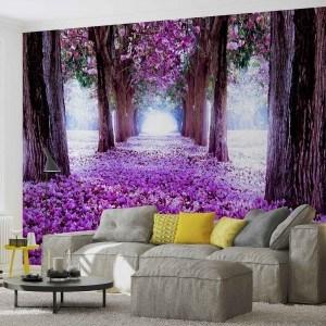 Fotografie tapet Drum flori violet 3D L 1