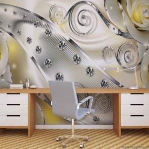 Fotografie tapet Diamant Floral galben 3D L