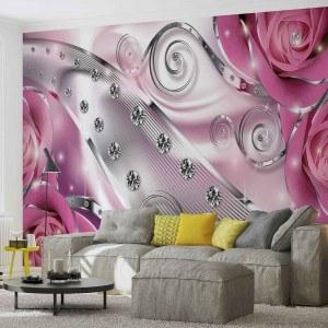 Fotografie tapet Diamant Floral roz 3D L