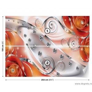 Fotografie tapet Diamant floral portocaliu 3D L