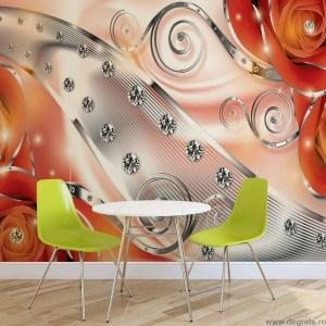 Fotografie tapet Diamant floral portocaliu 3D XL