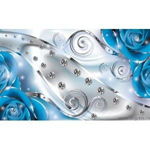 Fotografie tapet Diamant albastru floral 3D