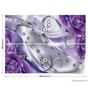 Fotografie tapet Diamant Floral violet 3D L