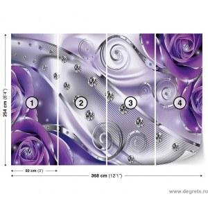 Fotografie tapet Diamant Floral violet 3D XL