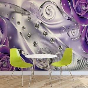 Fotografie tapet Diamant Floral violet 3D 2XL Vlies