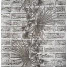 Tapet impermeabil Caramida cu palma alb-negru