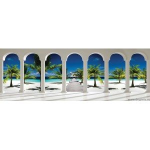 Fotografie tapet Plaja exotica 3D panorama Vlies
