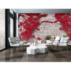 Fotografie tapet Perete cu flori rosii 2 L