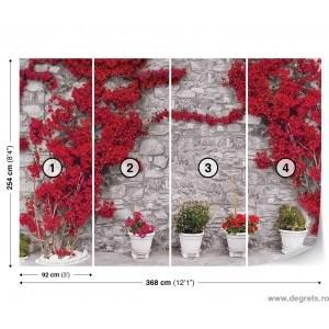 Fotografie tapet Perete cu flori rosii 2 XL