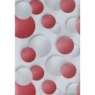 Tapet duplex Cercuri 3D alb-rosu