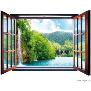 Fotografie tapet Cascada 3D fereastra Vlies