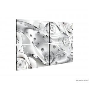 Set Tablou Canvas 4 piese Diamant floral alb 3D