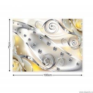 Tablou Canvas Diamant floral galben 3D L