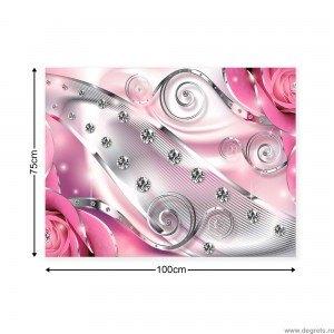 Tablou Canvas Diamant floral roz 3D L
