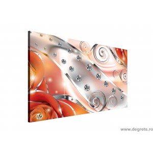Tablou Canvas Diamant floral portocaliu 3D L