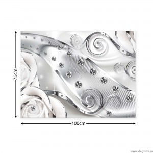 Tablou Canvas Diamant floare alba 3D L