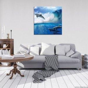 Tablou Canvas Delfini in mare