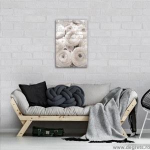 Tablou Canvas Trandafiri albi - Vintage 3D S