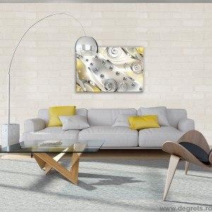 Tablou Canvas Diamant floral galben 3D S