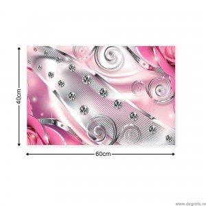 Tablou Canvas Diamant floral roz 3D S