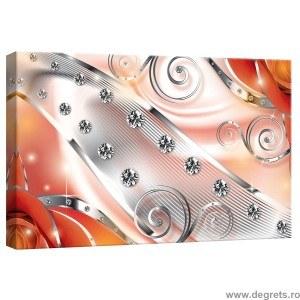 Tablou Canvas Diamant floral portocaliu 3D S