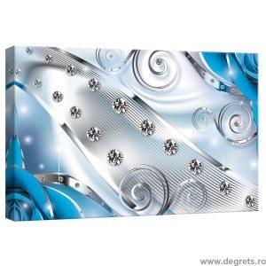 Tablou Canvas Diamant floral albastru 3D S