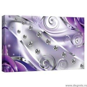 Tablou Canvas Diamant floral mov 3D S