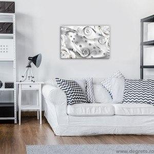 Tablou Canvas Diamant floral alb 3D S