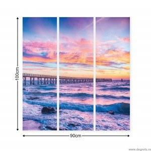 Set Tablou Canvas 3 piese Apus pe mare