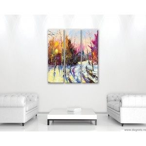 Set Tablou Canvas 3 piese Iarna - Priveliste padure
