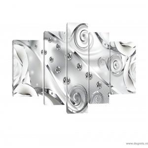 Set Tablou Canvas 5 piese Diamant floral alb 3D