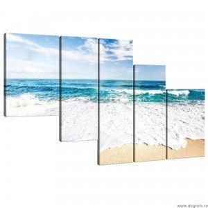 Set Tablou Canvas 5 piese Plaja de azur