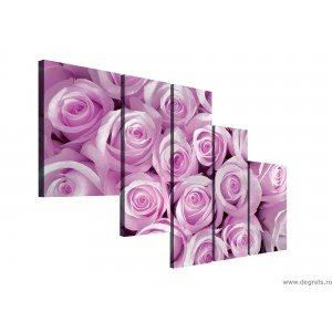 Set Tablou Canvas 5 piese Buchet roz de trandafiri