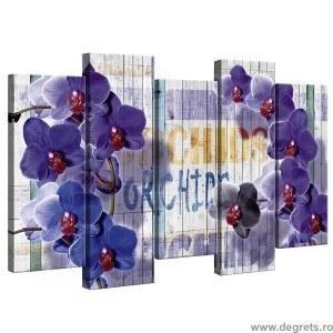 Set Tablou Canvas 5 piese Orhidee Mov