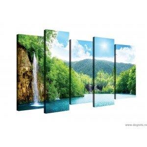 Set Tablou Canvas 5 piese Cascada langa lac