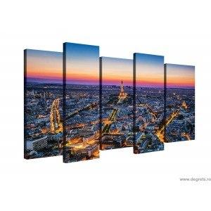 Set Tablou Canvas 5 piese Apus peste Paris
