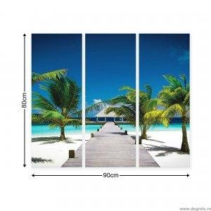 Set Tablou Canvas 3 piese Statiune Plaja