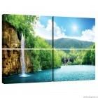 Set Tablou Canvas 4 piese Cascada langa lac
