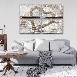 Set Tablou Canvas 4 piese Dragoste - Inima 2