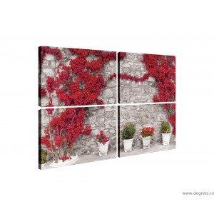 Set Tablou Canvas 4 piese Perete cu flori rosii 1