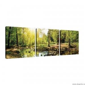 Set Tablou Canvas 3 piese Padure verde