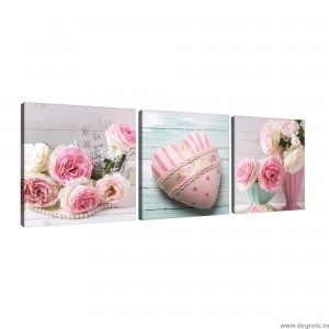 Set Tablou Canvas 3 piese Trandafiri inima arta