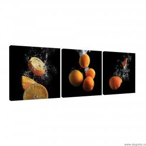 Set Tablou Canvas 3 piese Portocaliu 3D
