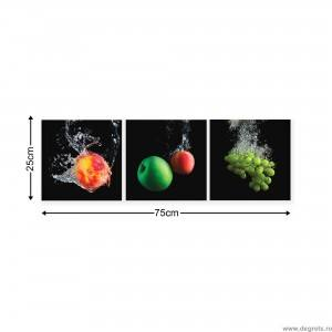 Set Tablou Canvas 3 piese Fructe 3D