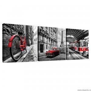 Set Tablou Canvas 3 piese Paris - retro