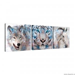 Set Tablou Canvas 3 piese Regatul animalelor